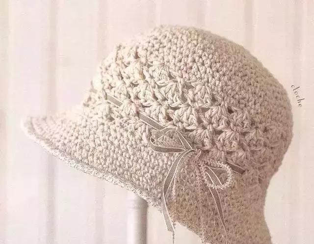 一天就能完成的钩针帽子 夏季钩针棉草帽遮阳帽图解大全