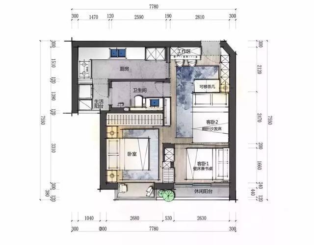 平面设计图,原本一房一厅的格局,改变之后变成了三房一厅,客厅两用