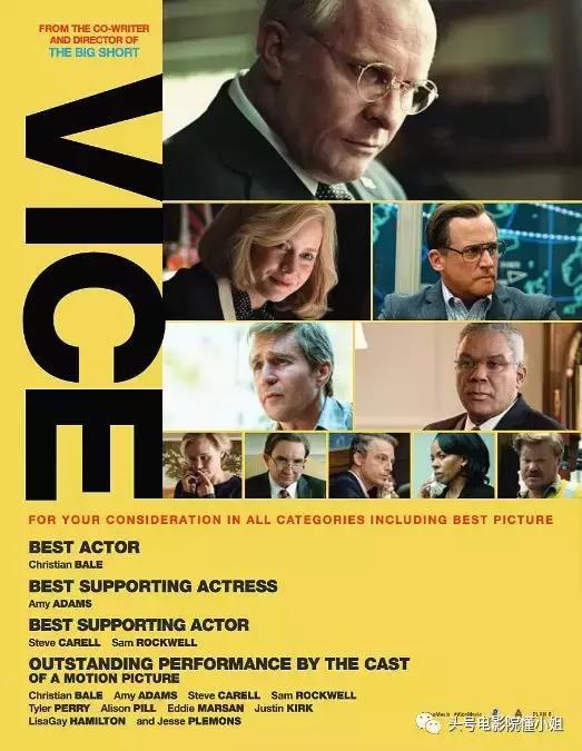 其中,一部政治人物电影《副总统》(vice,直译的意思是副手)以6项提名