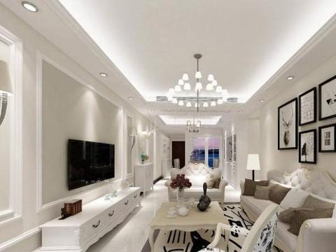 越来越多人客厅装石膏线电视背景墙了,简约大气,关键还省钱