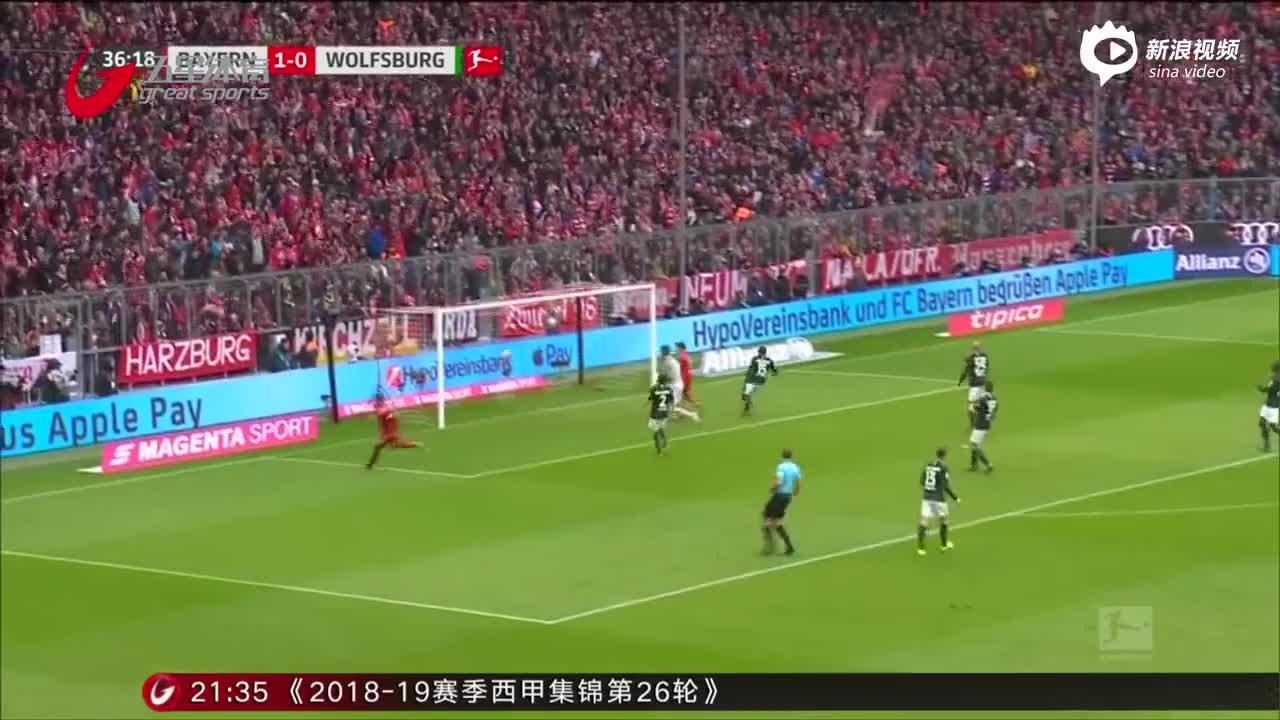 视频-莱万2球破纪录 拜仁六球横扫狼堡登榜首