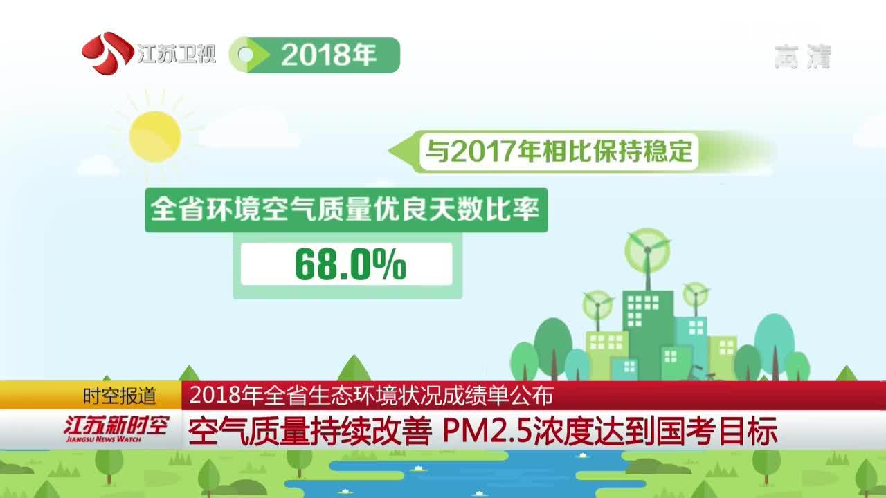 2018年江苏全省生态环境状况成绩单公布 空气质量持续改善 PM2.5浓度达国考目标