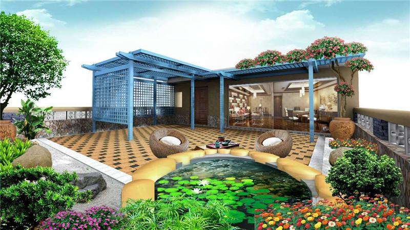 贵阳保利别墅田园装修设计,超值美式风水方位凉亭风格别墅公园庭院图片