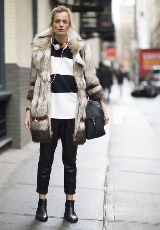 烂大街的牛仔外套,这6款皮草外套搭配,给你名媛气质