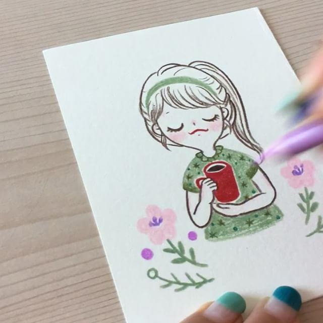 俏皮可爱的小女孩彩铅手绘