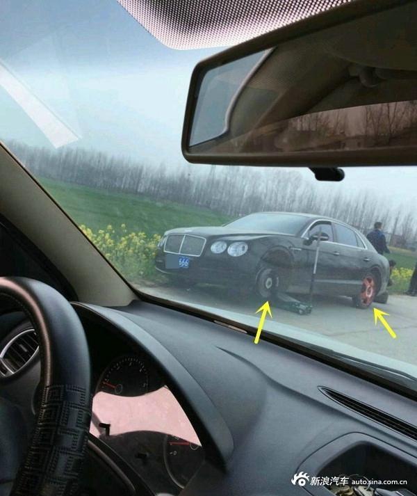 豪车下乡遇坑不减速 四个轮胎爆两个