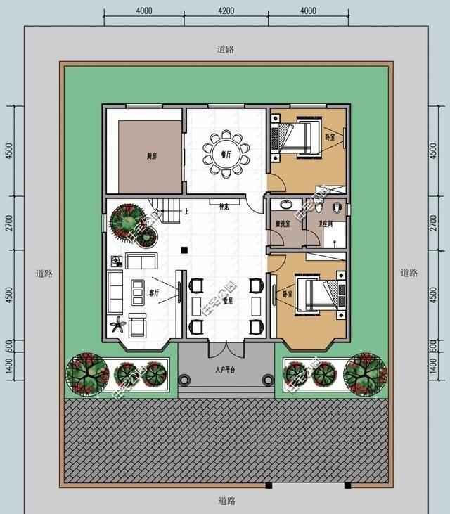 8米宽13长自建房平面图