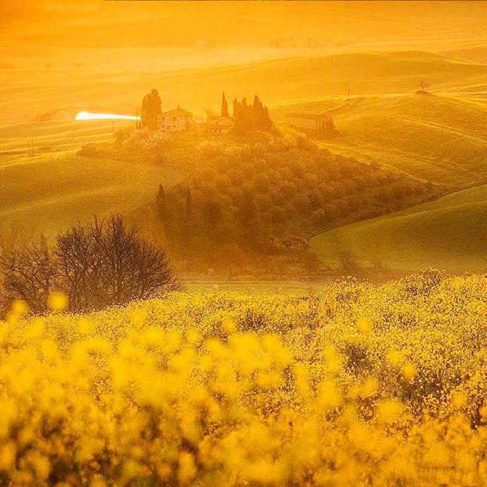 意大利田园小镇 Tuscany。油画里的美景
