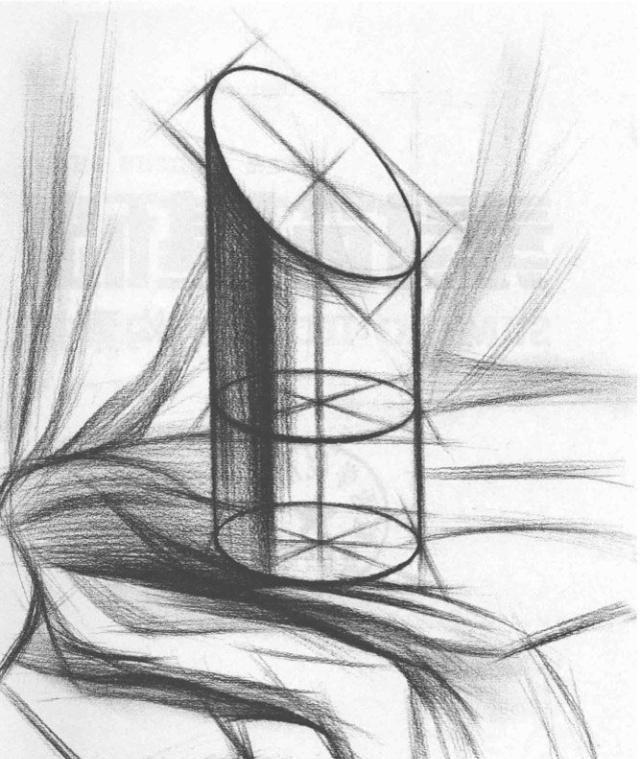 圆柱切面体结构素描的画法步骤