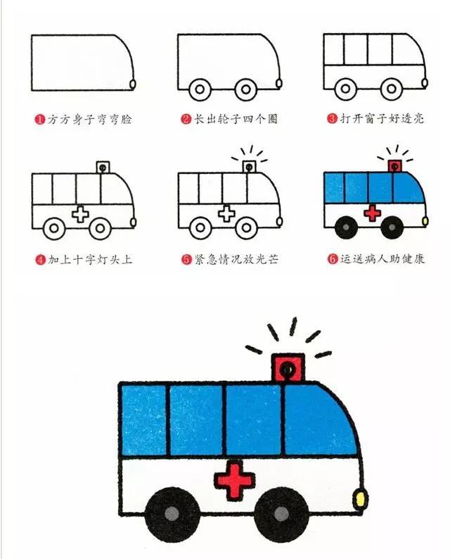 育儿简笔画八种常见交通工具,五分钟全学会,超级简单