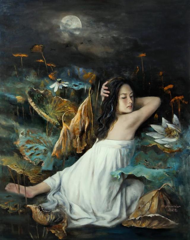 超写实油画欣赏:现代人体油画里的绝色美人,美的让人窒息