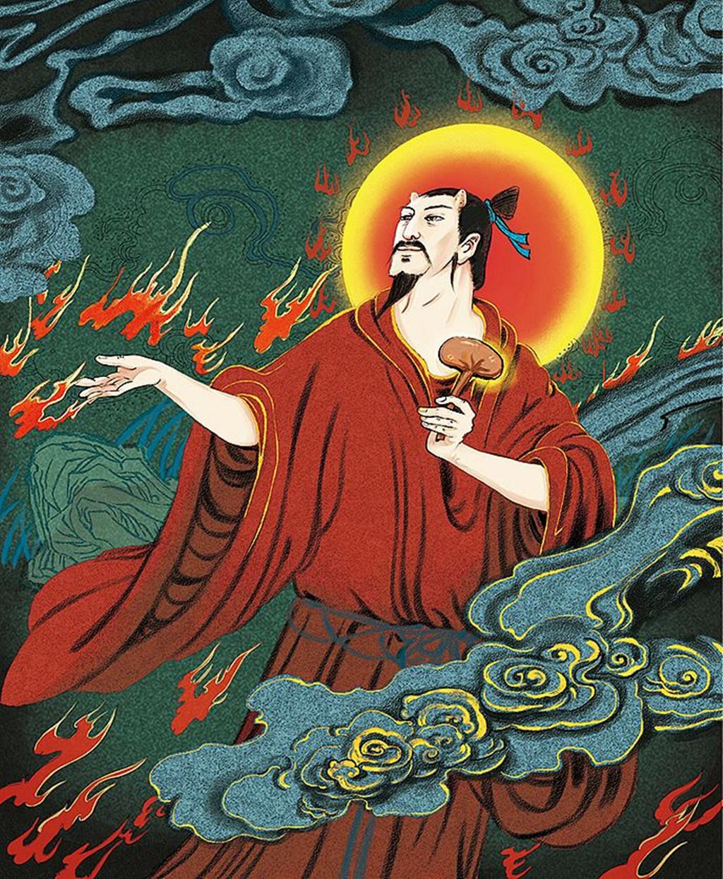炎帝   传说姜姓部落的首领由于懂得用火而得到王位,所以称为炎帝.