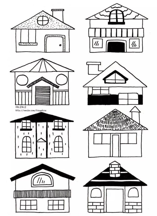 手繪-簡筆畫房屋素材