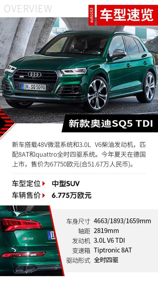 破百仅需5.1秒 新款奥迪SQ5 TDI车展首发