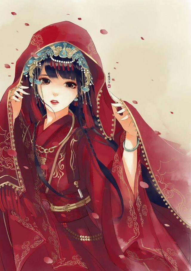 古风新娘手绘图片高清