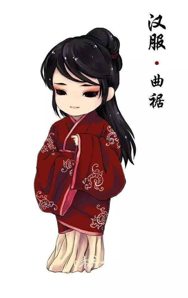 素材-中国风手绘汉服