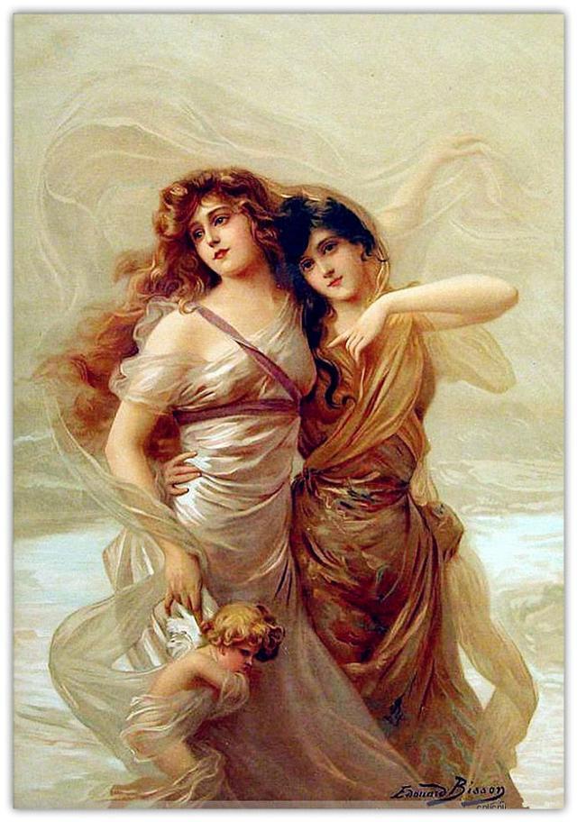 欧美的女体太丰满_法国画家比森油画作品,轻纱缭绕下难掩丰满女体!