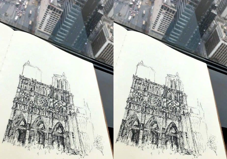 """有种""""致敬""""叫潘粤明向巴黎圣母院,手绘建筑物"""