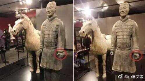 兵马俑手指白断了?陕西文物部门:坚决捍卫中国文物尊严