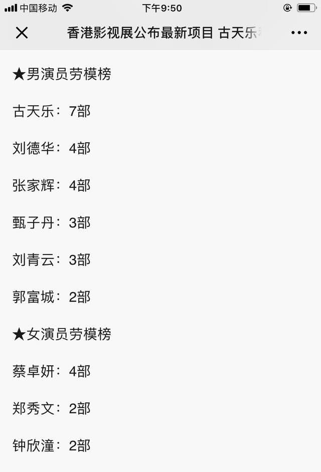 香港影视展公布最新项目:古天乐、刘德华、张家辉三位大爷成劳模