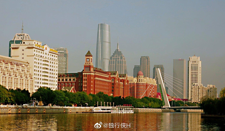 清晨天津海河边漫步