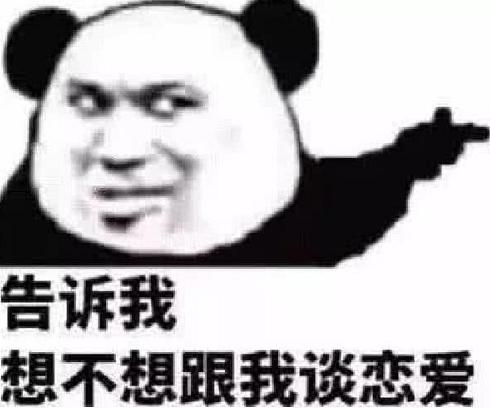 俏皮·可爱·熊猫头表白表情包:告诉我,想不想跟我谈恋爱?图片
