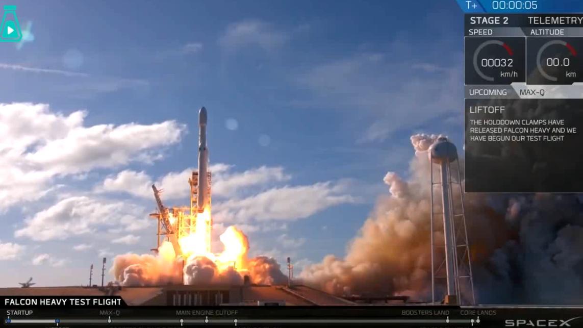SpaceX猎鹰重型火箭动画版VS现实版,马斯克创造了历史
