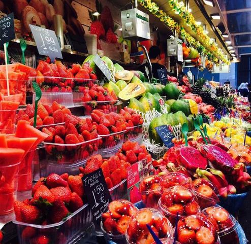 西班牙La Boqueria的水果市场