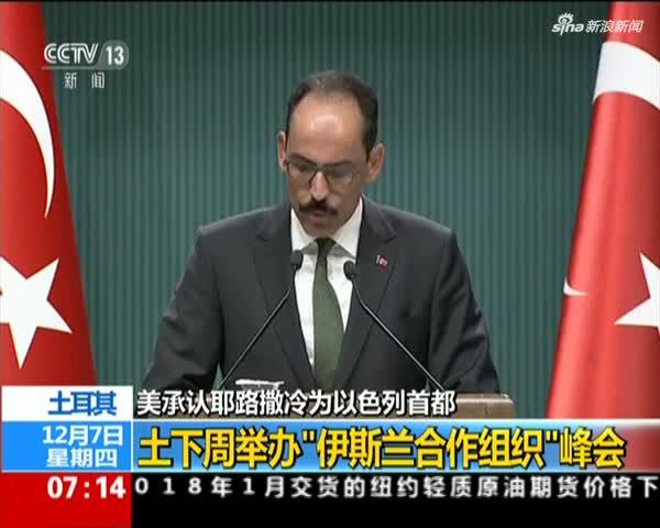 """美承认耶路撒冷为以色列首都 土耳其:下周举办""""伊斯兰合作组织""""峰会"""