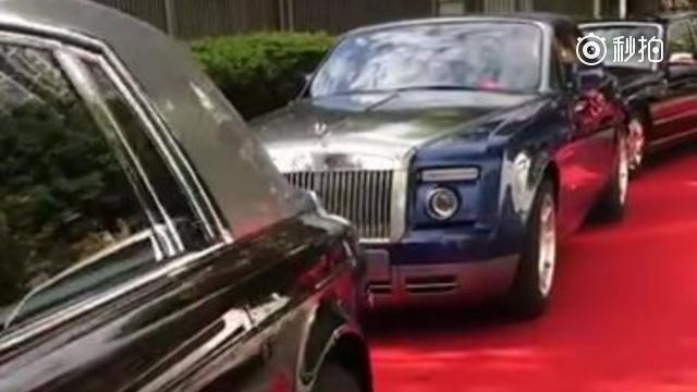 实拍广东土豪婚礼过程中的一幕,你是来看豪车的还是看豹子车牌的