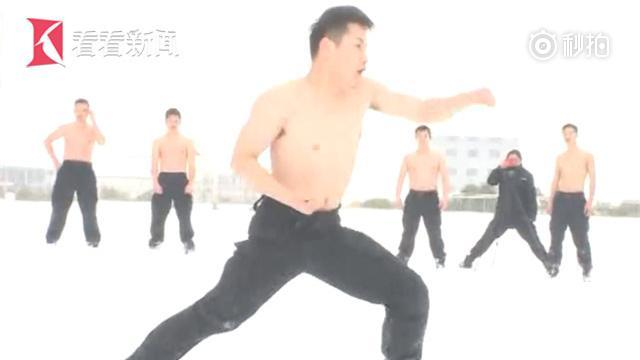冰天雪地 反恐突击队特警赤膊训练