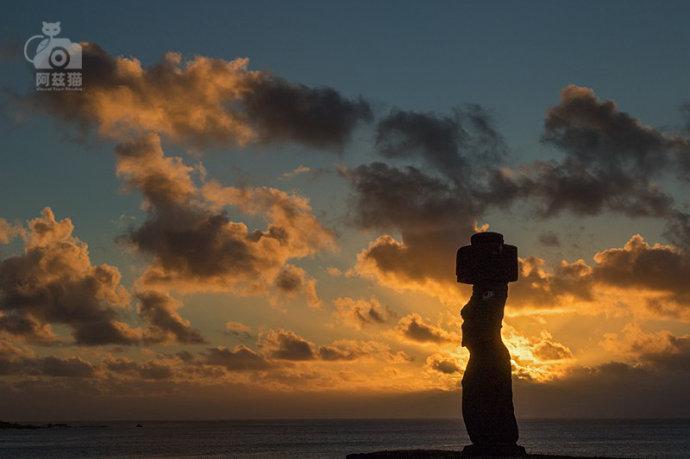复活节岛上的日落