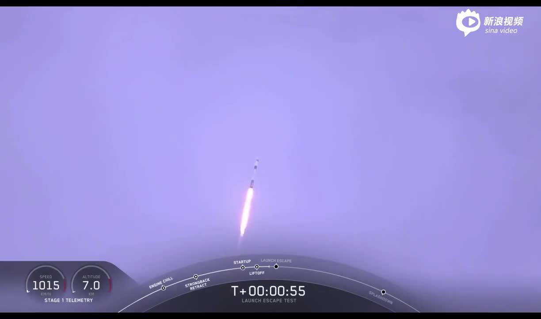火箭爆炸!SpaceX成功测试载人飞船逃生能力