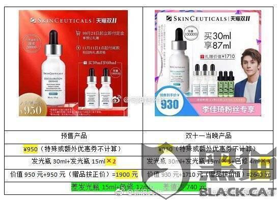 黑猫投诉:修丽可双十一预售涉嫌虚假宣传,赠品差价高达1560元