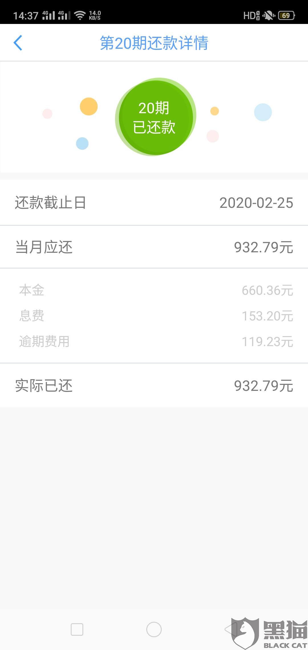 黑猫投诉:宜信公司宜人贷逾期一天利息高达119.23