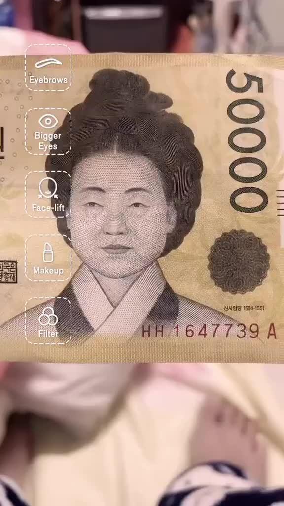 用TikTok美颜滤镜,给韩国50000纸币上的申师任堂使用之后…
