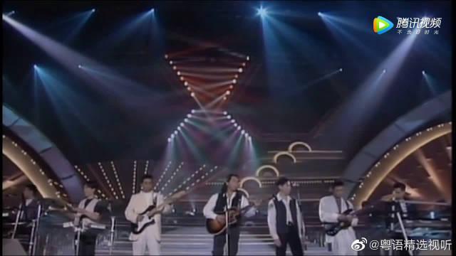 92年顶尖香港乐队Beyond太极同台,身着风衣的黄家驹真是霸气