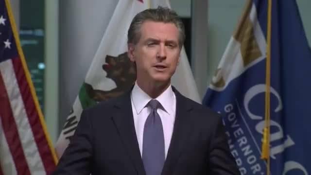 """19日晚,美国加州州长加文·纽瑟姆宣布全州""""封城令"""""""