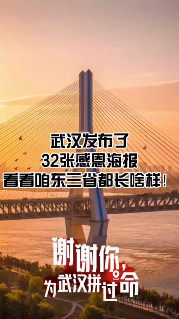 武汉发布32张感恩海报,快来看看咱东三省长得啥样?