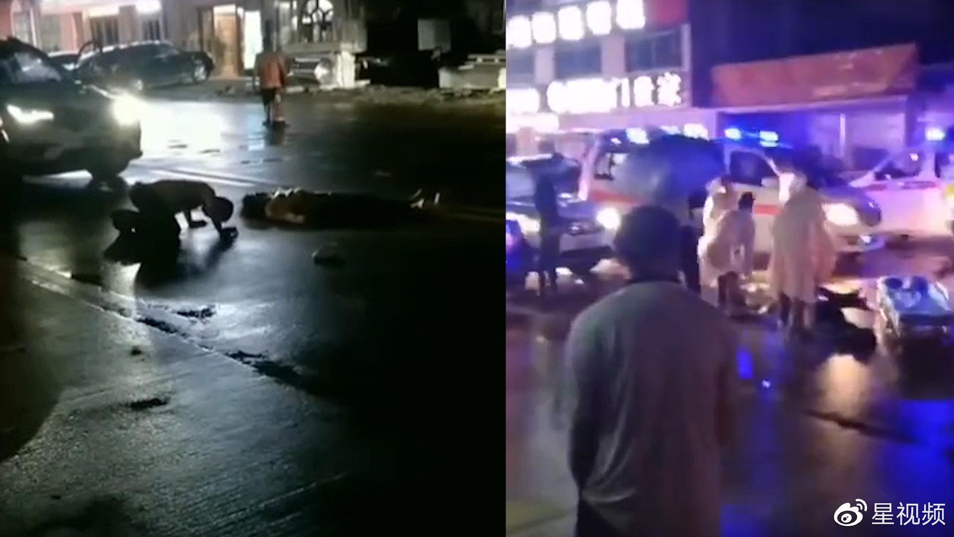 广东紫金发生车祸2女子倒地, 肇事男子跪地磕响头:对不起