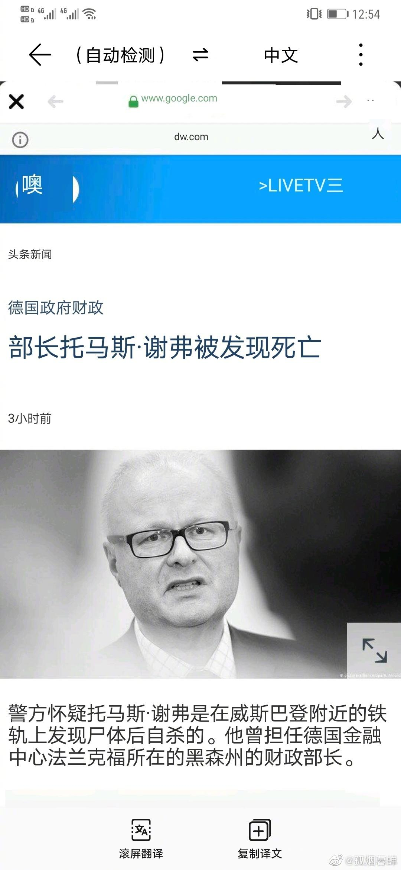 54岁的德国黑森州财政部长托马斯·舍费尔被证自杀