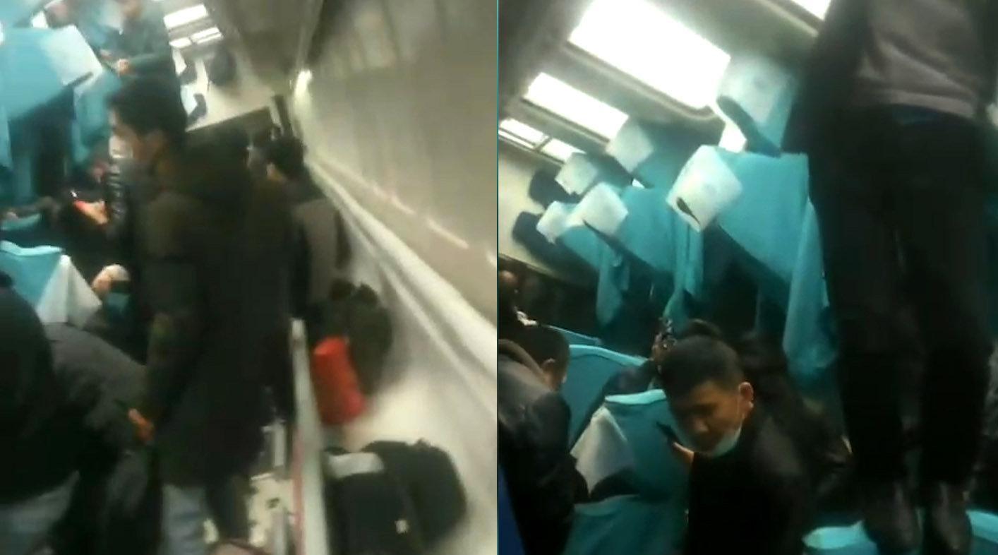 京广线列车脱轨  车厢内部画面曝光 旅客爬出倾覆车厢逃生