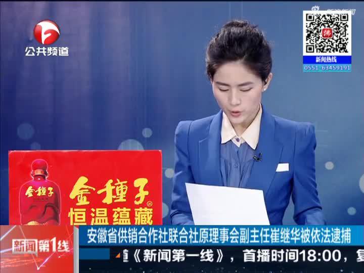 《新闻第一线》安徽省供销合作社联合社原理事会副主任崔继华被依法逮捕