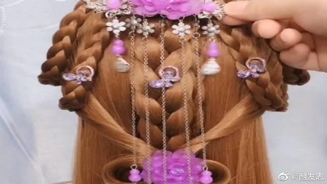 穿汉服头发这样扎,仙气十足,谁还不是个小仙女了~
