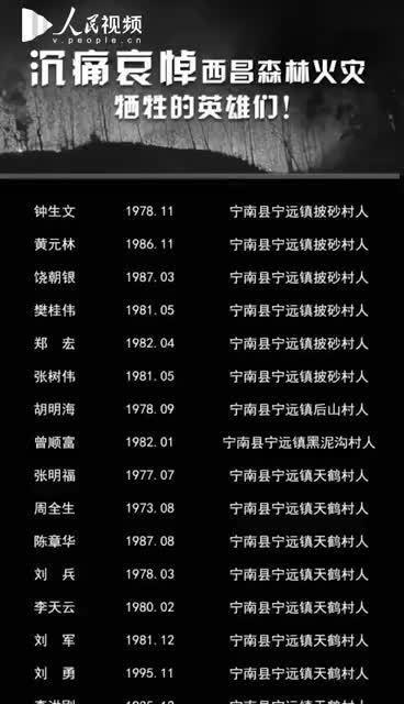 西昌森林火灾牺牲人员名单