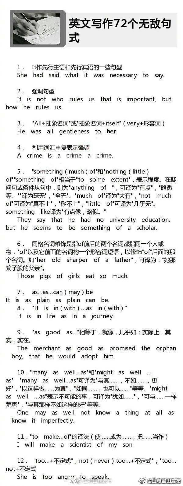 英语写作72个无敌句式,不论是英语四六级还是考研英语
