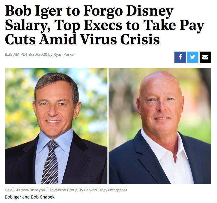 据外媒,华特·迪士尼公司宣布高层在新冠疫情下降薪