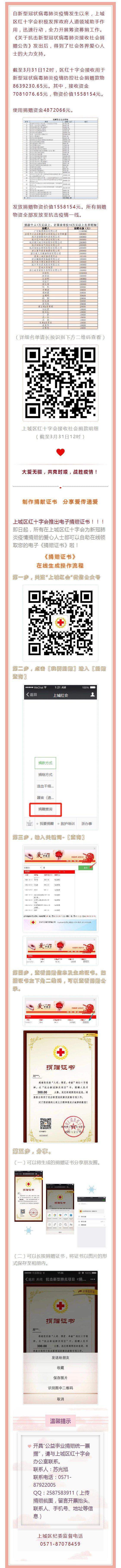 上城区红十字会接收社会捐赠情况公示(截至3月31日12时)