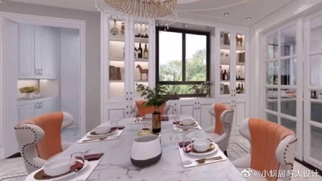 法式装修风格的房子,客厅宽敞漂亮,卧室也很美很温馨