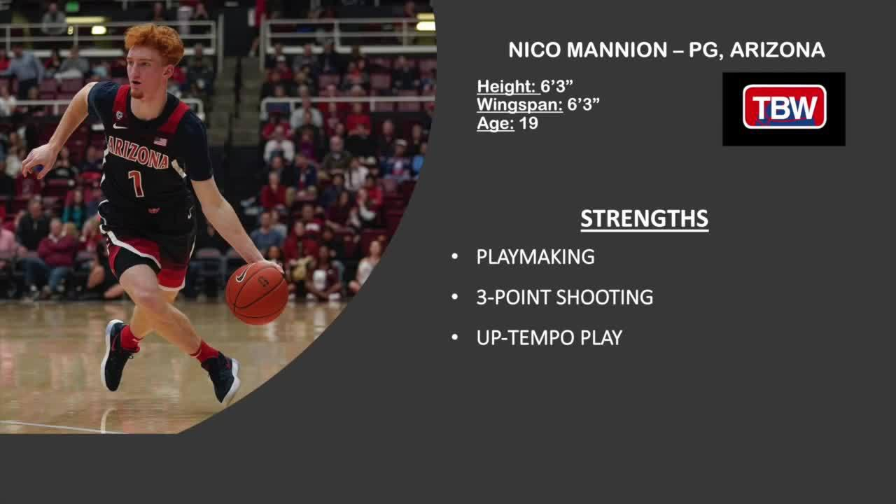 2020NBA选秀球探报告:尼科-曼尼恩,身高1米91,控球后卫